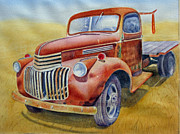 Rusty Truck Paintings - Rusty Red by Jane Wong