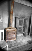 Antique Wood Burning Stove Posters - Rusty Stove Poster by Cheryl Young