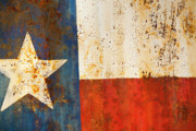 Rustic Photo Metal Prints - Rusty Texas Flag Rust And Metal Series Metal Print by Mark Weaver