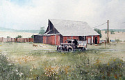 Rusty Truck Paintings - Rusty Truck and Barn by Richard Hahn