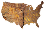 America Map Posters - Rusty USA map Poster by Tony Cordoza