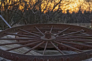 No Spokes Posters - Rusty Wagon Wheel At Sunset Up Close Poster by Thomas Woolworth
