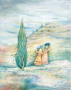 Jerusalem Painting Metal Prints - Ruth and Naomi Metal Print by Michoel Muchnik