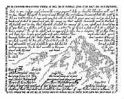 Word Drawings - Ruths Mountain by Bethany Martin