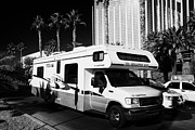 Recreational Vehicle Framed Prints - rv parked outside mandalay bay hotel and casino Las Vegas Nevada USA Framed Print by Joe Fox