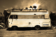 Trailer Park Posters - RV Trailer Park 5D22705 Sepia v2 Poster by Wingsdomain Art and Photography