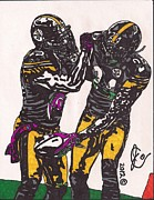 Sports Art Drawings Posters - Ryan Clark and Ike Taylor Poster by Jeremiah Colley
