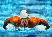 Male Athletes Posters - Ryan Lochte USA Olympic Swimmer Poster by Elizabeth Coats