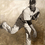 Pitcher Paintings - Ryan Vogelsong Perseverence by Darren Kerr