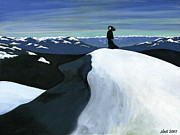 Overcoming Obstacles Paintings - Ryder on the Mountain by Holly  Whitstock Seeger