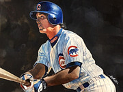 Michael Pattison Prints - Ryne Sandberg - Chicago Cubs Print by Michael  Pattison