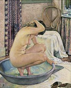 In The Bath Metal Prints - Rysselberghe, Theo Van 1862-1926. Nude Metal Print by Everett