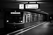 Berlin Germany Prints - s-bahn train speeding through unter den linden underground station Berlin Germany Print by Joe Fox
