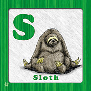 Sloth Drawings Posters - S for Sloth Poster by Jason Meents