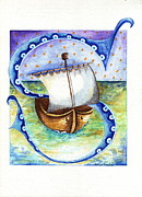 Illustrated Letter Framed Prints - S is for Sailing Framed Print by Tamyra Crossley