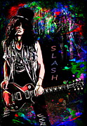 Rock And Roll Digital Art Originals - S L A S H  by Andrzej  Szczerski