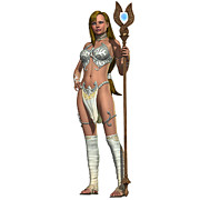 Staff Digital Art - Sabby Lessa Woman Warrior by Corey Ford