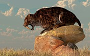 Prehistoric Digital Art - Saber-Tooth on a Rock by Daniel Eskridge