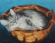 Sabrina In Her Basket Print by Jeanne Fischer