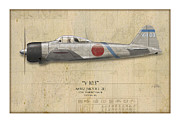 Profile Posters - Saburo Sakai A6M Zero - Map Background Poster by Craig Tinder