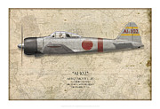 Ai Prints - Saburo Shindo A6M Zero - Map Background Print by Craig Tinder