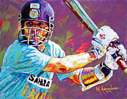 Sports Paintings - Sachin Tendulkar by Maria Arango