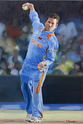 Pitch Painting Posters - Sachin Tendulkar throwing the ball  Poster by Dominique Amendola