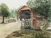 Covered Bridge Painting Metal Prints - Sachs Covered Bridge 1852 Metal Print by Barbara Murphy