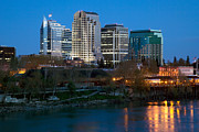 Riverwalk Posters - Sacramento California Skyline at dusk Poster by Bill Cobb