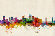 Skylines Digital Art Posters - Sacramento California Skyline Poster by Michael Tompsett