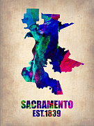 Irina  March - Sacramento Watercolor Map