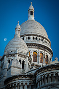 Sacre Coeur Photos - Sacre-Coeur and Moon by Inge Johnsson