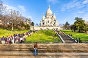 Basillica Framed Prints - Sacre Coeur - Basilica Overlooking Paris Framed Print by Mark E Tisdale