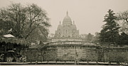 Sacre Coeur Art - Sacre Coeur on a Snowy Day by Louise Fahy