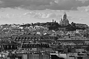 Sacre Coeur Photos - Sacre Coeur over rooftops black and white version by Gary Eason