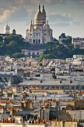 Sacre Coeur Metal Prints - Sacre Coeur over rooftops Metal Print by Gary Eason