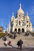 Christian Sacred Framed Prints - Sacre Coeur - Parisian Landmark Framed Print by Mark E Tisdale