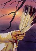 Native American Watercolor Paintings - Sacred Feathers by Robert Hooper
