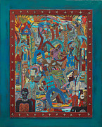 Tribal Art Paintings - Sacred Fete by Perry Morgan III