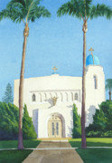 Palm Tree Paintings - Sacred Heart Church Coronado by Mary Helmreich