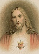Sacred Heart Paintings - Sacred Heart by French School