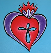Purple Heart Painting Posters - Sacred Heart No.1 Poster by Aimee Mouw