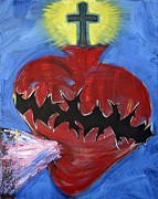 Jesus Art Paintings - Sacred Heart of Jesus Alive by Danielle Tayabas