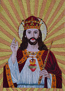 Sacred Tapestries - Textiles Metal Prints - Sacred Heart of Jesus  Metal Print by To-Tam Gerwe