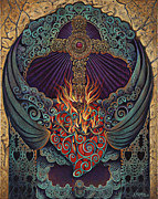 Teal Mixed Media Posters - Sacred Heart Poster by Ricardo Chavez-Mendez