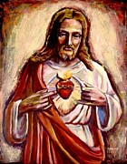 Religious Art Paintings - Sacred Heart by Sheila Diemert