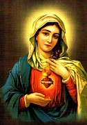 Religious Images Posters - Sacred Heart Poster by Unknown
