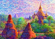 Buddhist Monk Paintings - Sacred Spires by Jane Small
