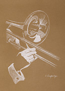 Music Pastels Metal Prints - Sacred Trombone Metal Print by Karen  Loughridge KLArt