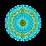 Light Blue Chakra Prints - Sacred Voice - Mandala Art By Sharon Cummings Print by Sharon Cummings